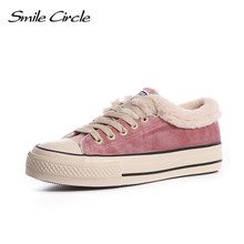Smile Circle 2018 Autumn/Winter Shoes Women Sneakers Lace-up Casual Shoes Women Warm Plush Flat Platform Shoes Girl Shoes A56961(China)