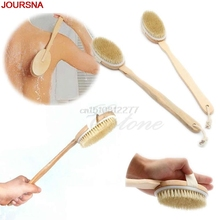 Natural Long Wood Wooden Body Brush Massager Bath Shower Back Spa Scrubber #H0VH#(China)