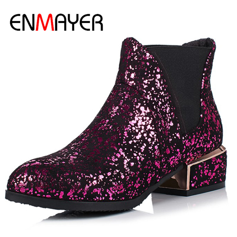 ENMAYER Bling Ankle Boots for Women High Heels Round Toe Motorcycle Boots Shoes Woman Plus Size 34-43 Spring&amp;Autumn Shoes<br>