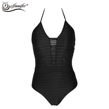 2017 Women One Piece Swimwear Mesh Backless Swimsuit Women's Halter Neck Swimming Bathing Suit Ladies Backless Swimsuits(China)