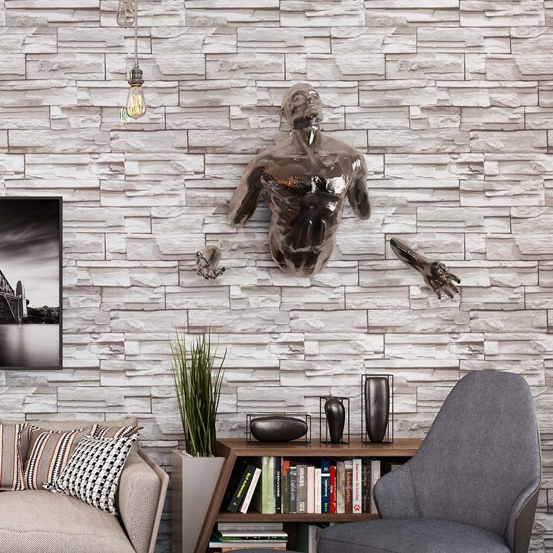Beibehang Retro imitation brick wallpaper gray brick wallpaper living room study bar hotel hotel 3d wallpaper papel de parede<br>