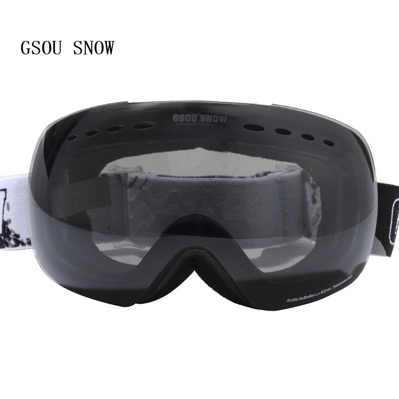 GSOU SNOW Brand Winter Men Women Protection Professional Skate Double anti-fog anti-UV big spherical Anti-fog Ski Goggles<br>