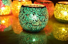 Mosaic Decorative Mercury Round Glass Ball Crystal Candle Holders For Wedding Centerpieces Candlestick Decoration  Home Decor