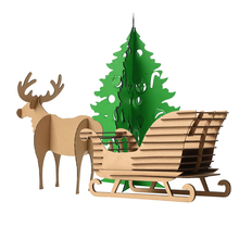 Kids Craf DIY Cardboard Decoration Christmas Tree Deer Sledge Toys Children 3D Puzzle Reindeer Sled Model Ornaments Xmas Gifts