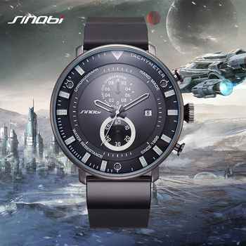 Sinobi star wars ultra fino dos homens do cronógrafo homens esportes militares relógios de pulso pulseira de borracha marca genebra relógio de quartzo 2017
