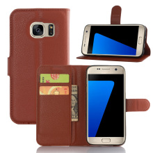 Wallet PU Leather Case For Samsung Galaxy S7 Flip Stand Phone Bag With Card Holders Cover Stylish Simplicity 9 Colours Brown Red(China)