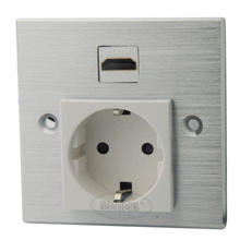 Aluminum HDMI AC power with EU style wall plate and support customer design(China)