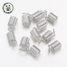 Iron Coil Cord Ends, Silver, 9x5mm; about 2450pcs/kg