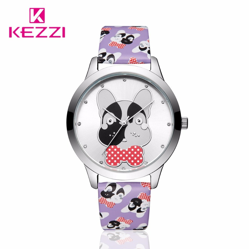 2016 Brand Women Leather Cute Dog Pattern Casual Quartz Wristwatch Girl Students Waterproof Dress Watch Relogio Feminino<br><br>Aliexpress