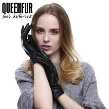 Touchscreen Real Leather Gloves For Winter Women Genuine Sheepskin Mittens Driving Warm Lining Black Lamb Skin Gloves