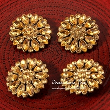 30pcs/lot 28MM High Quality Round Sparkly Gold Rhinestone Button For Handmade Accessories Crystal Metal Button For Embellishment(China)