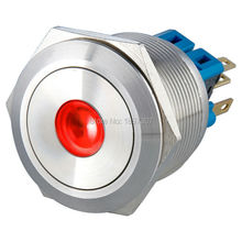 25mm Dot illuminated pushbutton switch Reset 1NO1NC CE, ROHS