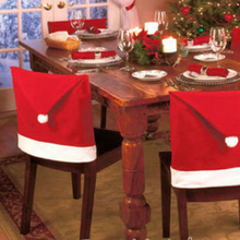 Fashion Christmas Decor Santa Clause Red Hat Chair Back Cover home Christmas Party Dinner Table Cloth(China)