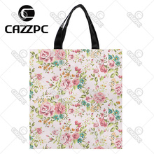 Elegance Watercolor floral Allover Pattern Print Custom individual waterproof Nylon Fabric shopping bag gift bag Pack of 2