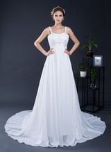 In Stock 100% Real Pic Cheap Chiffon A Line Wedding Dresses Lace Up Back Elegant Bridal Gowns
