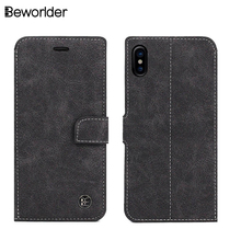 Beworlder For Apple iphone X Case Flip Vintage Hand Made Phone Bags Matte Wallet Soft TPU Cover For iphone X Leather Case(China)
