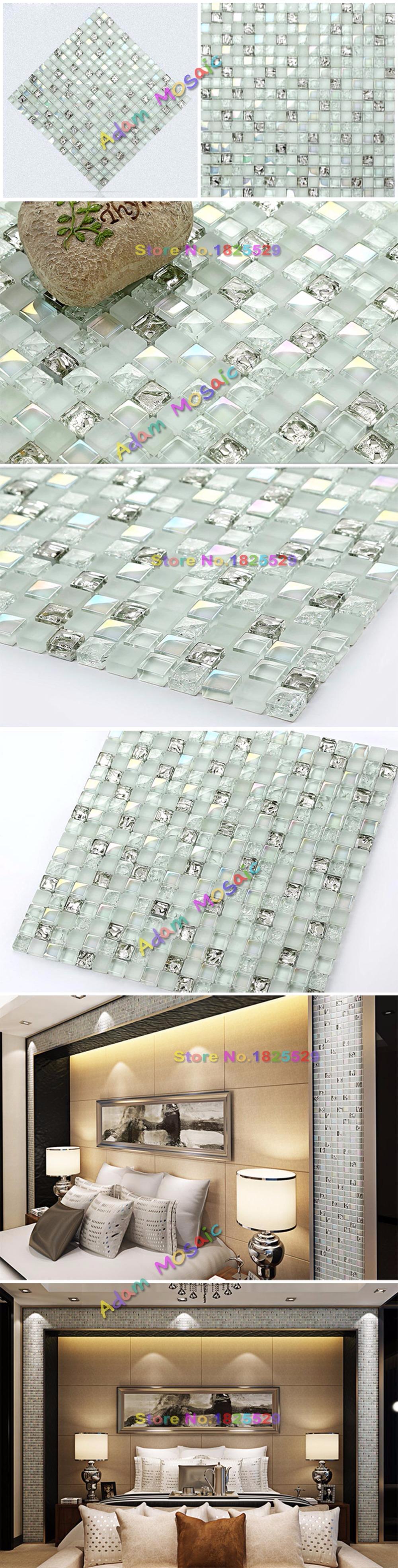 Großhandel Transparentes Weißes Glasmosaik Deckt Silberne Backsplash ...