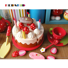 eco-friendly red water paint wooden Afternoon tea chocolate cake toy set children play house wooden toys gift(China)