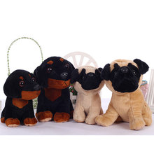 Stuffed dog plush toys black dog sorrow looking pug puppy bulldog baby toy animal peluche for girls friends children 18/22cm(China)