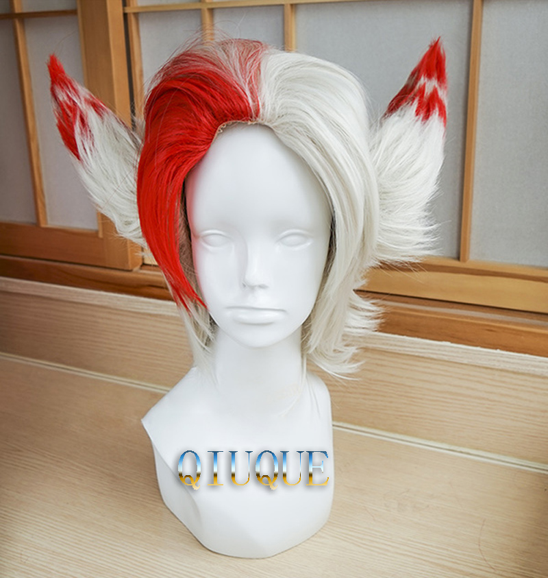 LOL Rakan Wigs 30cm Mixed Colors Heat Resistant Synthetic Hair Perucas Cosplay Wig + Wig Cap + Two Ears