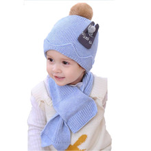Unisex Child Beanies Cap Set Baby Kids Patch Design Ribbed Knit Bobbles Hat and Scarf Winter Warm Suit Set MZ5278(China)