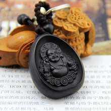 Chinese Traditional Ebony Sculpture Smile Maitreya Had Peace All Year Round Car Key Ring Keychain Trinket Pendant Bag