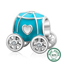 ChaWin 925 Sterling Silver Blue Pumpkin Coach Charm Bead fits Pandora Charms bracelets & Necklaces