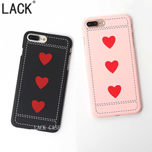 LACK For iPhone 5 5S 6 6S 7 7Plus Phone Cases Cute Love Heart Fashion Slim frosted Peach Red Classic Arts Line Case Back Cover