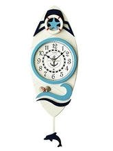 Fashion Mediterranean Style Decorative Handmade Wood Crafts Wall Clock with Pendulum