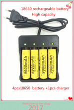 4pcs Rechargeable 18650 Battery 3.7V Li-ion9900mAh Battery With Charging Dock For Flashlight Batery Litio Battery+1pcs charger