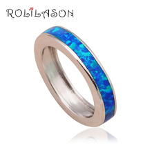 Popular style simple design Blue Fire Opal Silver Stamped Health Fashion Jewelry Rings USA #6#7#7.5#8#9#10 OR691