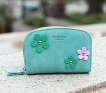 New arrive Korean style lovely sweet design women medium size wallets,flower design matte leather zipper wallet.coin purse,purse