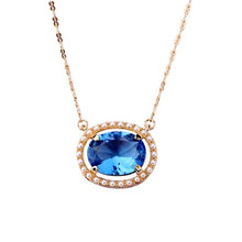 Exquisite Elegant Banquet Brief Luxury Simulated Pearl Blue Gem Jewelry Chokers Necklace VN91