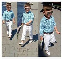 HOT kids children's clothing sets spring&autumn boy's sets baby Kids cotton long sleeve plaid shirts+casual trousers+belt 3pcs