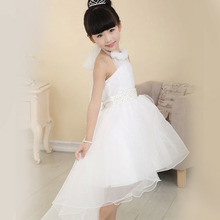 100% Top Good Popular 1-8 old years Girls White Flower Princess Dress For Bridesmaid Party Wedding Faux Pearl Kids Dress