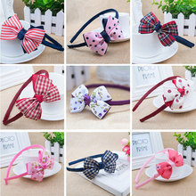 Baby Girl Kids Big Bowknot Ribbon Hair Bands Hair Accessories Headband Sweet Soft Plaid Stripe Hair Bands Dot Children Headwear