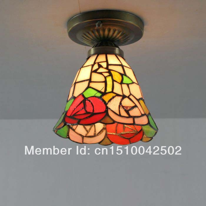 Tiffany Glass Ceiling Rose European pastoral balcony aisle lighting DIA 15 CM H 15 CM<br><br>Aliexpress