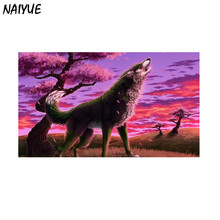 5d diamond painting partial round NAI YUE 2017 New Arrive 30*20cm A wolf &purple sky diy Diamond embroidery as Home Decoration