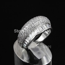 Fashion Jewelry Cool Nice Jewellery Gem 5A Zircon stone 10KT White Gold Filled Wedding Band Ring Sz 6/7/8 Free shipping
