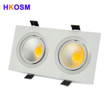Bright Square LED Dimmable Square Downlight Recessed Double downlights COB 20W 30W LED Spot light decoration Ceiling Lamp(China)