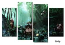 Playing Panda In Forest Landscape Wall Pictures Green Bamboo Wall Art Oil Painting Decorate Children Kids Room Wall Decor Poster(China)