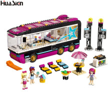 2017 Brand Compatible Friends Series Pop Star Tour Bus Model Building Bricks Educational Girls House Blocks Figures Game Toys