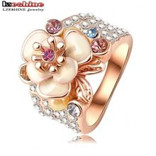 LZESHINE Hot Sale Jewelry Ring Rose Gold Color Austrian Crystal Enamel Flower Wedding Ring For Women aliancas Ri-HQ0155