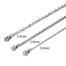 Pameng 2 Pcs /lots (2MM-3.2MM) 50CM New Fashion Trendy Silver Color Stainless steel Chains Necklace For Women men Jewelry H0275