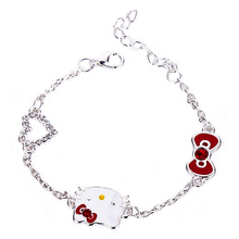 2016 Charm Cute Hello Kitty Bracelet love Cat Crystal Heart Bracelets Bangle
