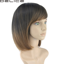 DELICE Straight Black To Brown Ombre Straight Short Wig Synthetic Gradient Inclined Bangs BOBO Cosplay Wigs(China)