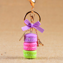 New Cake Key chain fashion car Key Ring Women bag charm accessories France Cake Macarons with Eiffel Tower Keychain gift Jewelry(China)