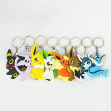 8Pcs/Lot Eevee Pocket Monsters Cartoon PVC Keychain Pokemon Mini Figure pendants charms collection toy Key Ring