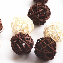 3cm Mix White And Coffee 20pcs/Lot Home/Wedding/Hotel/Decorative Rattan Ball Home Decoration Accessories(China)