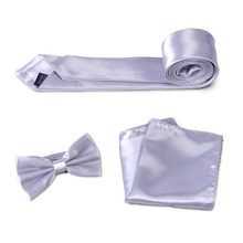 3pcs Men's Formal Solid Color Slim Bowtie Necktie Handkerchief Pocket Square Hanky Butterfly Bow Tie Set for Wedding Dress Suit